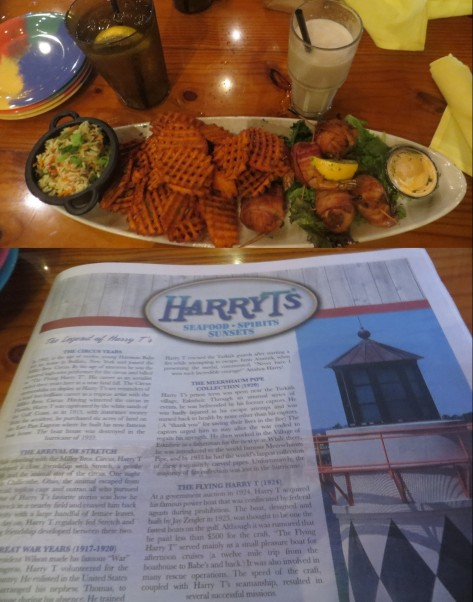I ordered the Bacon-Wrapped Stuffed Shrimp. Sides: Vegetables Rice & Sweet Potato Waffle Fries. Delicious!