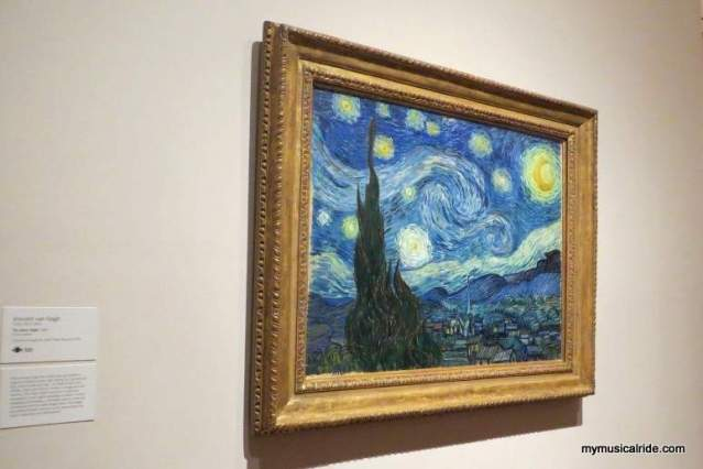 Starry Night. It was just a magic moment when I was so close to it. I could not believe it. This is because this is my favorite piece of him. It is an emotional painting and I love their lines and colors. It just speaks to me. To me its about infinite faith and dreams.